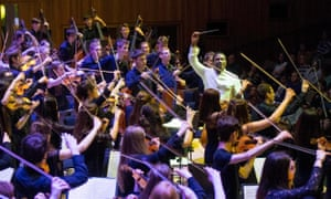 The National Youth Orchestra of Great Britain performing in April 2018 with conductor Kwamé Ryan