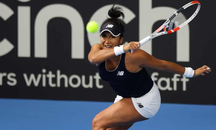Heather Watson returns on her way to a comfortable win over Giuliana Olmos