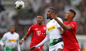 Borussia Mönchengladbach's Marcus Thuram was a pest for Bayern all afternoon in their Bundesliga match.