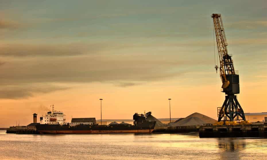 Sunderland, England; Crane at a shipping dock