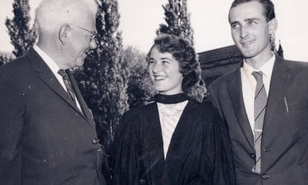 Monica Oliphant at her graduation in 1960, accompanied by (from left) her late father in law Sir Mark Oliphant and late husband Michael Oliphant.