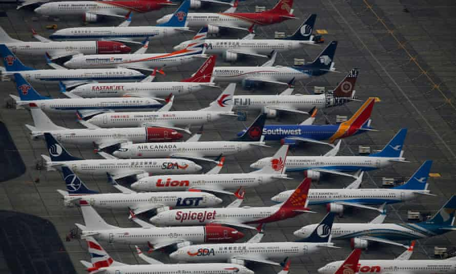 Grounded Boeing 737 Max aircraft parked at Grant county international airport in Moses Lake, Washington, US, in November last year.