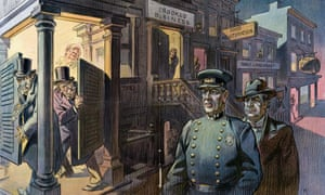 Illustration by Udo Keppler in Puck, 26 March 1913, shows President Woodrow Wilson as a police officer with William Jennings Bryan behind him as they walk down a street lined with buildings labelled Crooked Business, Food Adulteration, Public Land Graft, and the Pork Barrel.