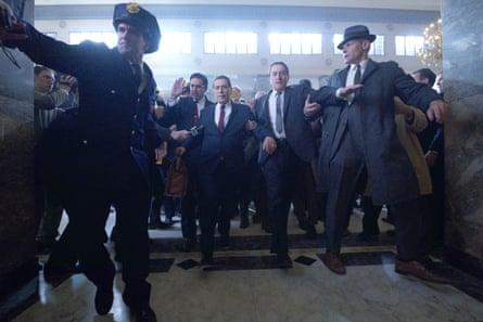 Al Pacino as Jimmy Hoffa and Robert De Niro as Frank Sheeran in