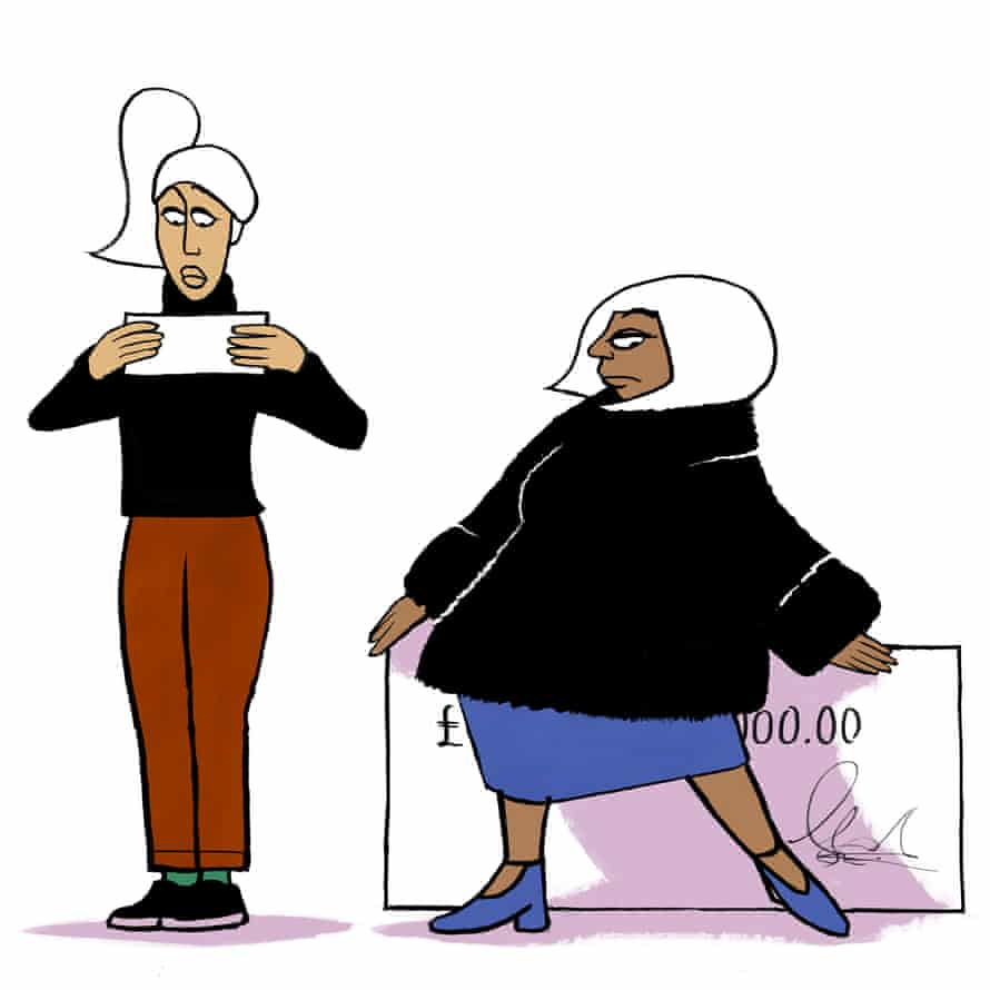 Illustration of two women hiding cheques