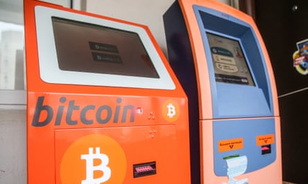 Bitcoin ATMs in a shop in Kazan, Russia.