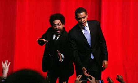Happier days … with Obama at a fundraiser in Harlem, 2007.