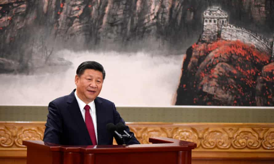 Chinese President Xi Jinping speaks as he introduces the Communist Party of China's new Politburo Standing Committee, the nation's top decision-making body.
