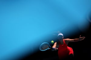 Russia's Maria Sharapova returns to Croatia's Donna Vekic during the Australian Open first round match.