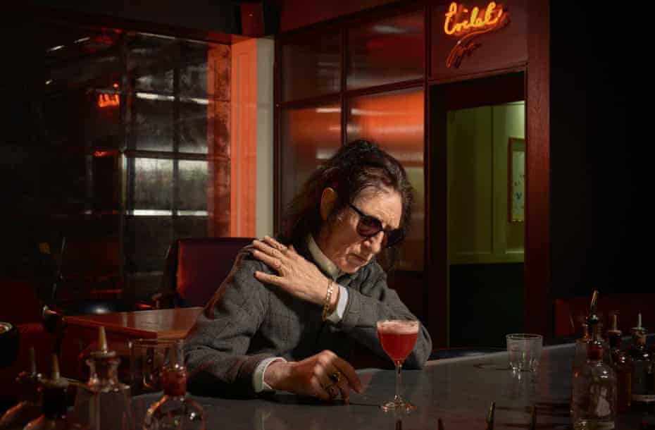 John Cooper Clarke photographed for Observer Food Monthly at Mark's Bar, Hix Soho, London