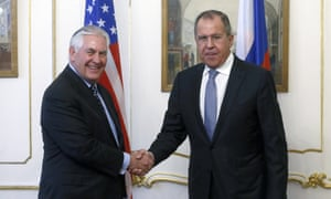 Russia's foreign minister, Sergei Lavrov, greets his US counterpart in Vienna on Thursday.