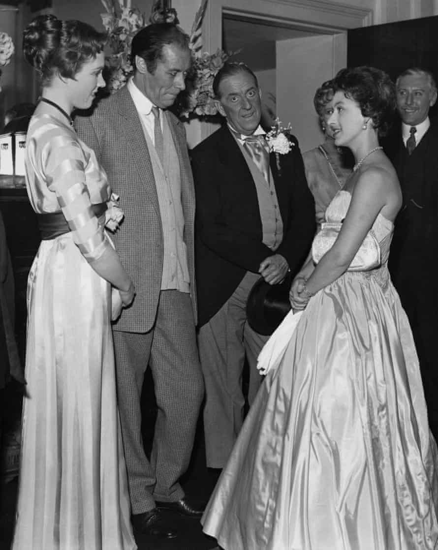 With Julie Andrews, Rex Harrison and Stanley Holloway at the Theatre Royal after a performance of the stage musical My Fair Lady, 1966.