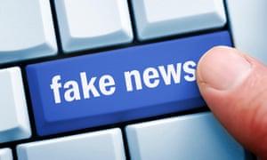 Fake news key on computer keyboard