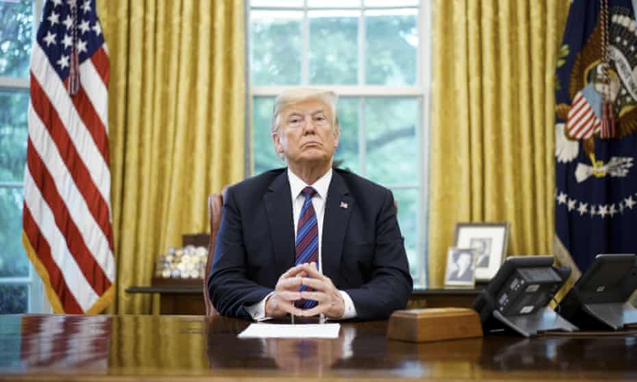 Donald Trump in the Oval Office on 27 August 2018.