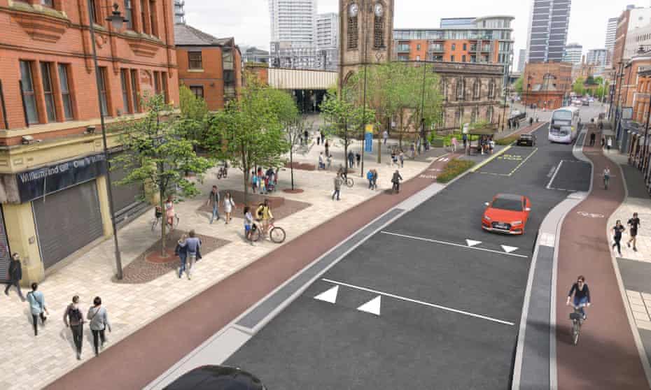 A visualisation of Chapel Street, Salford, under the Manchester Beelines scheme