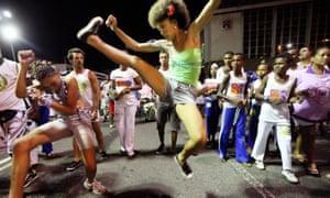 Brazilians perform capoeira at Carnival celebrations in Salvador, Brazil.