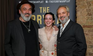 Jez Butterworth, Laura Donnelly and Sam Mendes after the play's press night in June.