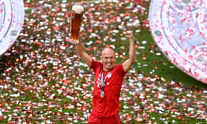 Arjen Robben celebrates in May after winning the last of eight Bundesliga titles with Bayern Munich.