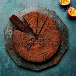 Meera Sodha's chocolate, olive oil and passion fruit cake.