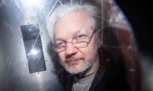 Julian Assange leaves Westminster magistrates court, where he went for a hearing relating to extradition