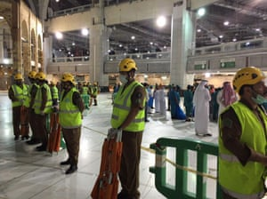An area is cordoned off at the Grand Mosque in Mecca after a crane collapsed killing dozens.