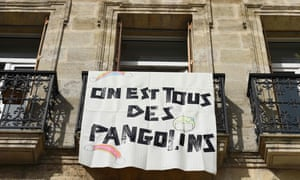 "A banner reading ""We are all pangolins"" hangs on a blacony in Bordeaux, southwestern France, on March 19"