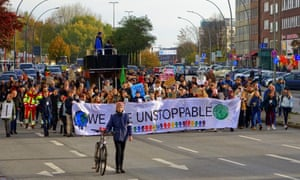 The plea to tackle emissions comes amid climate protests such as here in Hamburg, Germany, this month.