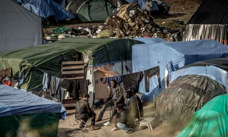 A view of the Jungle refugee camp in Calais, France