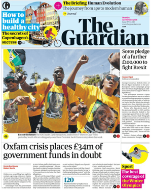 Guardian front page, 12 February 2018