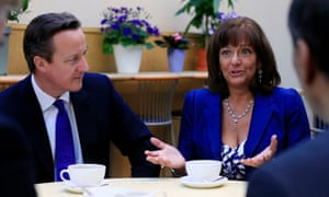David Cameron and Ros Altmann, the pensions minister.