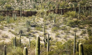 Existing border fence at Organ Pipe Cactus national monument near Lukeville, Arizona, on 16 February 2017, on the US-Mexico border.
