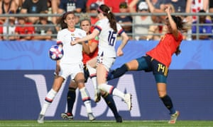 The penalty call: Virginia Torrecilla of Spain and Rose Lavelle of the USA.