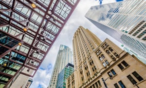 Modern buildings from low angle view in Toronto