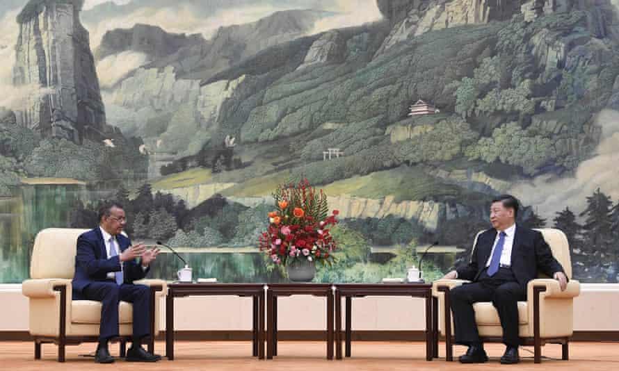 Tedros Adhanom Ghebreyesus and Xi Jinping  in Beijing in January.