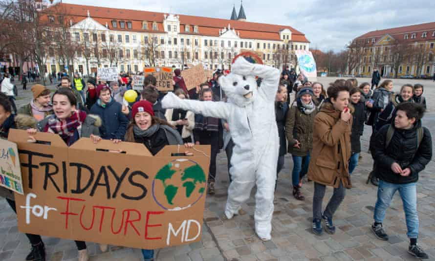 "Pupils demonstrate for the protection of the environment in a ""Fridays for Future"" protest on February 8, 2019 in Magdeburg, eastern Germany."