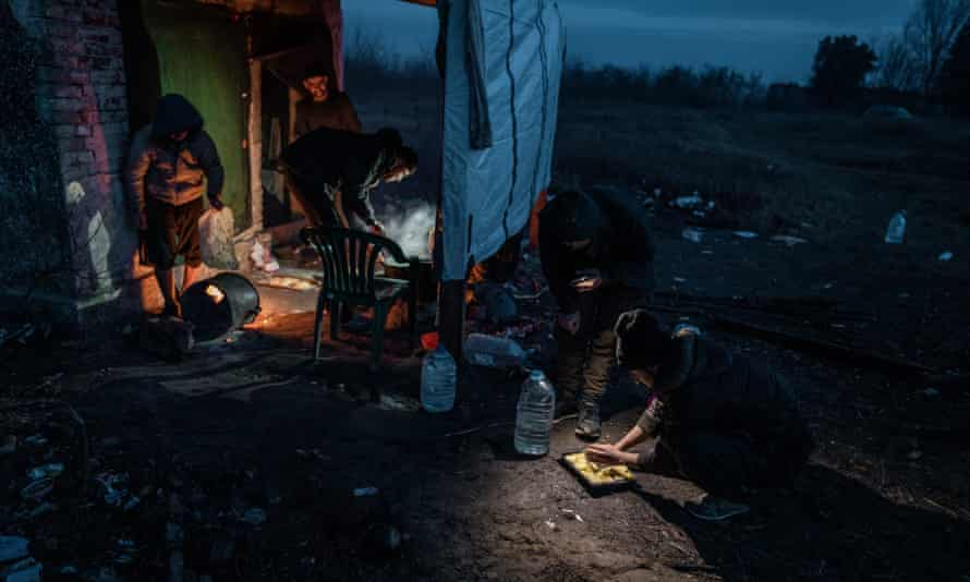 Migrants in Serbian village of Horgoš, close to the Hungarian border squatting in an abandoned farm building, January 2021.