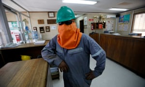 A worker stays inside an office of Rockwood lithium plant on the Atacama salt flat of northern Chile, January 8, 2013.