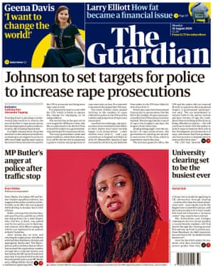 Guardian front page, Monday 10 August 2020