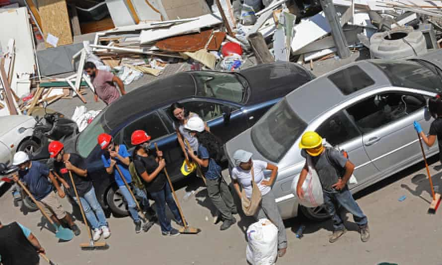 A team of volunteers in a Beirut street.