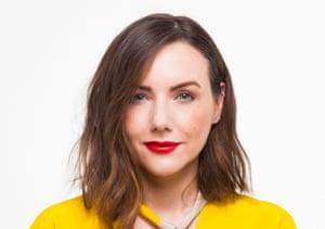 Sali Hughes in yellow top, photographed Jan 2018