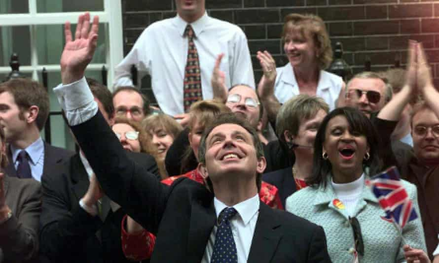 Tony Blair in Downing Street after the 1997 election