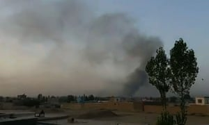 Smoke rising into the air after Taliban militants attacked Ghazni.
