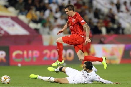 Croatian forward Mario Mandzukic playing for Al-Duhail in the Qatar Cup final against Al-Sadd in January.