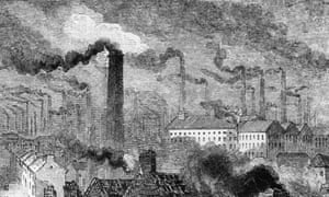 A view over the industrial city of Manchester, circa 1865.