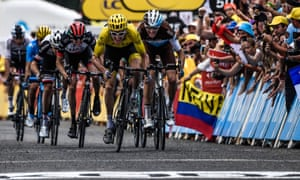 Great Britain s Geraint Thomas sprints to the line ahead of Romain Bardet  to finish in second place on stage 19. Photograph  Jeff Pachoud AFP Getty  Images 37044add2