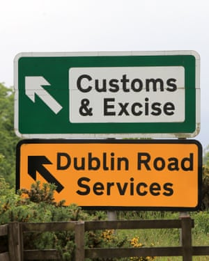 Road signs near the border