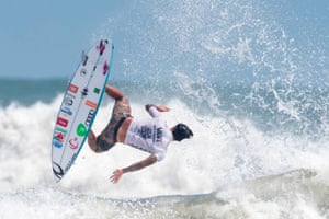 Gabriel Medina of Brazil rides a wave in the men's final of the ISA World Surfing Games in Miyazaki, Japan