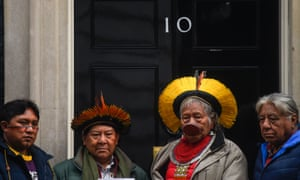"""In February, representatives of the Yanomami and Kayapo indigenous groups petitioned Prime Minister Boris Johnson to condemn Brazil's President Jair Bolsonaro's """"attempts to destroy our lands and lives."""""""