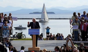 Senator Bernie Sanders speaks at a campaign kick-off rally on the shores of Lake Champlain in Burlington, Vermont on 26 May 2015. Few expected his campaign to be in such a strong position eight months later.
