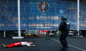 French police forces take part in a mock attack drill ahead of the Euro 2016 football championships